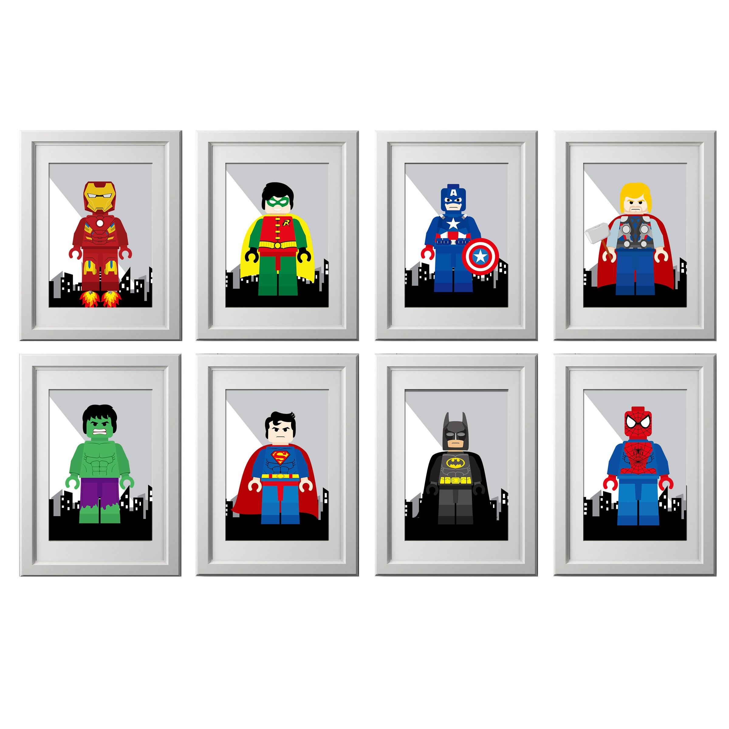 Superhelden-Wand-Kunst-Drucke Superheld set von 8