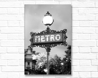 Paris Photography on Canvas - Odeon Metro Sign,  Gallery Wrapped Canvas, Black and White Architectural Urban Home Decor, Large Wall Art