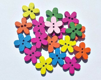 20 Wooden Flower Buttons - Flower Buttons - Colorful -  Flower Shaped Buttons