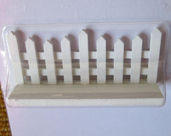 Picket fence,craft piece,white painted wood,free-standing fence,farm,model building,dioramas,RR layouts,3.75 inches long by 1.75 inches tall