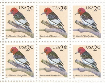Qty of 10 Red-Headed Woodpecker .02 cent 1996 vintage postage stamps. These stamp are in excellent unused condition.
