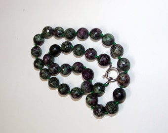 handmade necklace, Natural Green Ruby Zoisite, zoisite necklace, zoisite beads, green necklace, natural stones, for her, gift, green