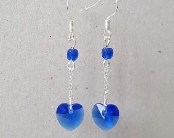 Swarovski blue heart Earrings