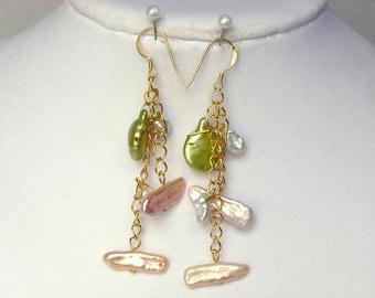 Earrings Green Biwa, White Keshi, Champagne Stick 14K EHKX0253