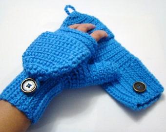 Convert fingerless etsy convertible fingerless mittens bright blue texting mitten crochet womens flip top mittens winter dt1010fo