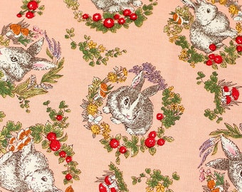 "Wreath Rabbits - Pink Background - 100% Cotton Fabric - 110cm/43"" Wide - 1/2 yard - more for one cut"