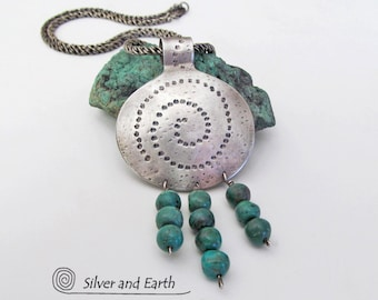 Turquoise Sterling Silver Necklace, Southwestern Jewelry, Turquoise Pendant, Unique Sterling Jewelry, Silversmith, Genuine Turquoise Jewelry