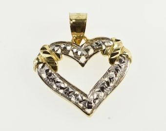 10K Two Tone Textured Pattern Criss Cross Heart Pendant Yellow Gold