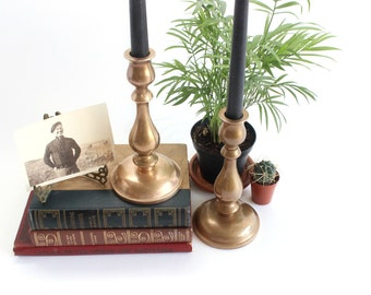 Brass Candlestick Holders, Mid Century Modern Home Decor