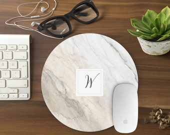 Monogram mouse pad, Mousepad MARLBE Mouse Mat Mouse Pad Office Mousemat Rectangular Personalized Mousepad Round marble  white - T800248-1