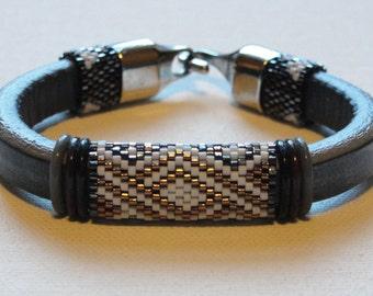 Blue Leather Peyote Beadwoven Bracelet
