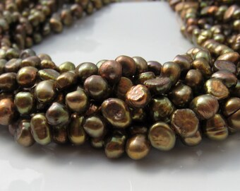 Olive Nugget Pearls, Freshwater Pearls, Olive Green Peacock, Bronze Pearls 6.5mm-7mm Real Pearls, Genuine Pearls, Full Strand NP104