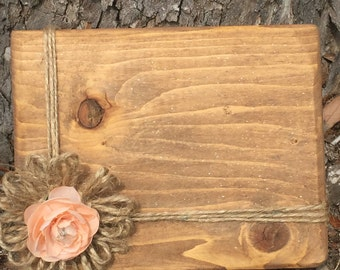 Wood block picture frame 4x6 Stained wooden photo frame Peach Rustic frame Farmhouse home decor, Birthday gift for her Bridesmaid frames