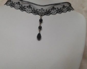"Choker necklace ""Black Lace and pearls"""