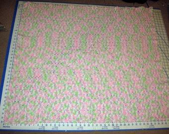 pink & green variegated crocheted baby afghan