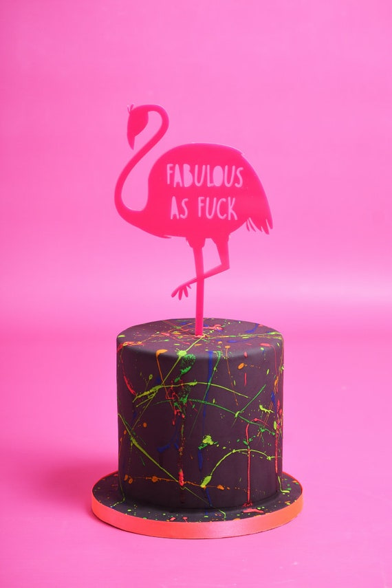 Pink flamingo cake topper Personalised FunnyRude Birthday