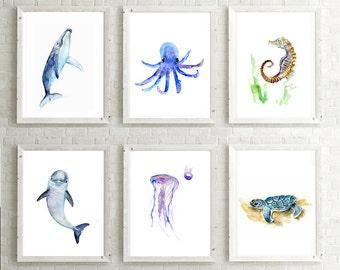 Baby sea animal Art - whale dolphin jellyfish turtle sea horse octopus watercolor painting - print - Nursery Art - nursery sea animals -