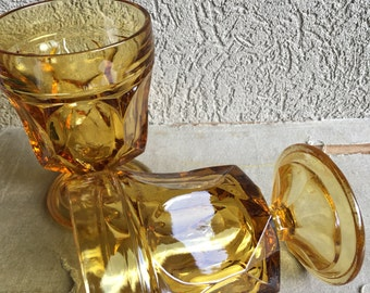 Fairfield Amber Rocks Glasses Footed Goblets Anchor Hocking Glass Vintage Set 2 - #D2312