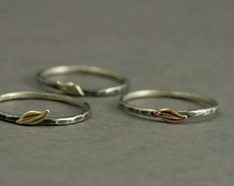 Lovely Leaf Stacking Ring--Solid 14K Gold Leaf on Hammered Silver Band--YOUR CHOICE of Yellow, White or Rose Gold Leaf--Nature Inspired Ring