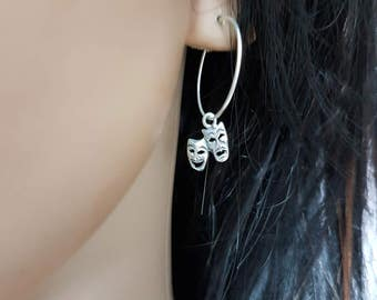 Theatre mask hoop earrings, Comedy tragedy masks, gift for actress