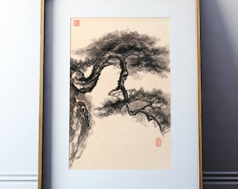 Original Ink Painting Pine tree - Chinese landscape Rice Xuan Paper picture