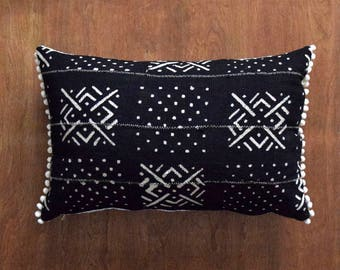 """Double sided mud cloth pillow, Authentic Mudcloth Pillow cover for 16"""" x 24"""" Pillow Inserts"""