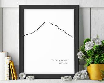 Mt Mount Hood Oregon Mountain Art Minimalist Poster Digital Downloadable Prints Black and White Printable Art Large Wall Art Mountain Decor