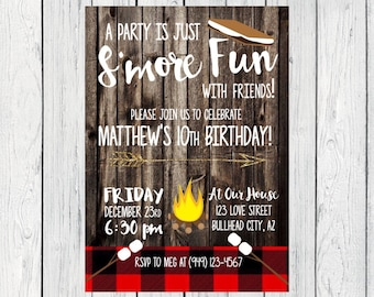 S'mores Birthday invitation-Wooden Background with Buffalo Plaid ***Digital File*** (Smores-Rustic)