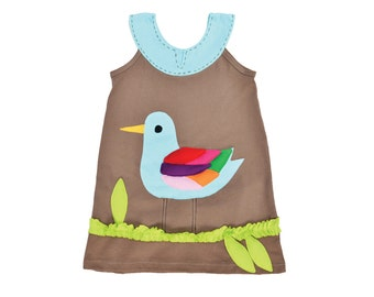 Girl's Dress, BIRD Dress, BIRD Clothing, Handmade Clothing, Applique Dress, Applique Clothing, Khaki Dress, Children's Dress