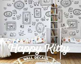 Happy Kitty Cat Doodle Style Children's Wall Decal