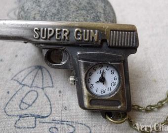 1 PC Antique Bronze Pistol Gun Pocket Watch 48mm A6276