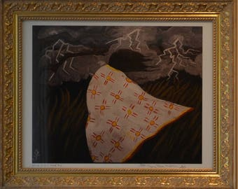 Wind in her hair by Jack Crying Raven Anderson, Ramapough Lunaape Artist. Limited-edition Giclee #2 of 175 in Gold Frame.