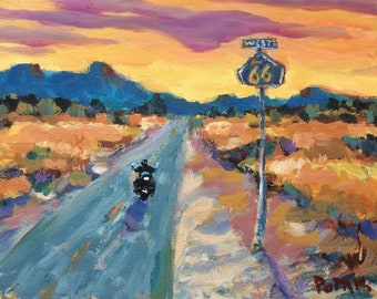 Route 66' original painting, southwest art, motorcycle on highway into sunset, in desert, with setting sun, Russ Potak artist