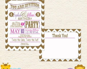 Pink and Purple Sisters Joint Birthday Party Invitation Thank You Cards/ Printed or Digital Invitation Thank You/ Girl or Woman Invite 001E