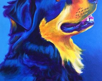 English Shepherd, Pet Portrait, DawgArt, Dog Art, Pet Portrait Artist, Colorful Pet Portrait, Shepherd Art, Art Prints