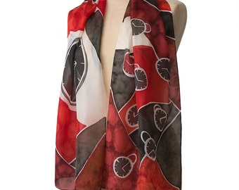 Tick Tock silk scarf. Hand painted with an Alice in Wonderland inspired clocks design in black, white and red for the festive season.