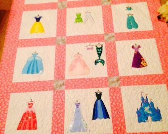Disney Princess Inspired Machine Embroidery Applique Quilt Pattern - Instant Digital Download