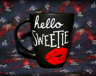 Doctor Who Inspired - Hello, Sweetie - Coffee Mug - River Song Kiss - Tardis Blue Box - Geeky Drinks - Dr Who - BBC