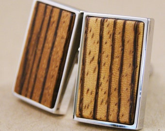Zebrawood Cuff links for Men - Silver