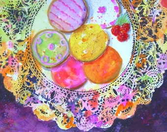 Original Watercolor Painting * ICED COOKIES * Slightly Messy Series * Art by Rodriguez * Colorful Art