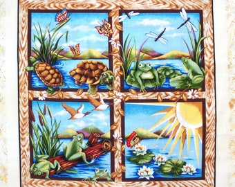 Coupon fabric Patchwork Panel sticker turtles, frogs and BUTTERFLIES N 2