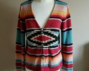 Sunset Colors Southwestern Native Print Cotton Cardigan