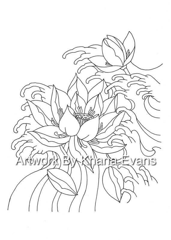 Japanese lotus flower tattoo design pdf a4 printout colouring japanese lotus flower tattoo design pdf a4 printout colouring page sheet hand drawn pen colour art therapy tattoo flash mightylinksfo