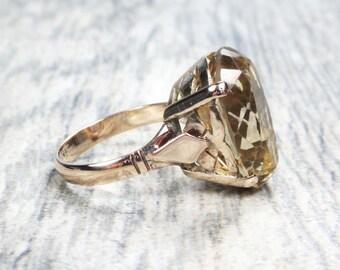 Vintage Ring 14k Smoky Topaz Ring 14k Gold Large Oval Topaz Ring Vintage Ring Retro Ring November Birthstone Circa 1940's Size 7