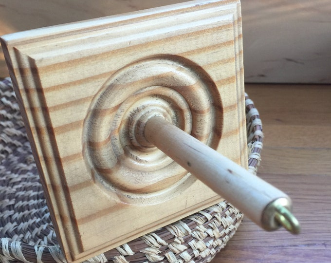 Natural Hand Finished Fancy Square Top Whorl Drop Spindle