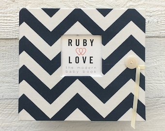 BABY BOOK | Navy Chevron Stripe Album