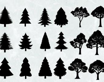 18 Tree Silhouettes Clipart | SVG Cut file | 300 PPI