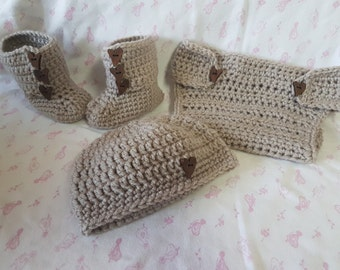 Beanie, booties and diaper cover matching set
