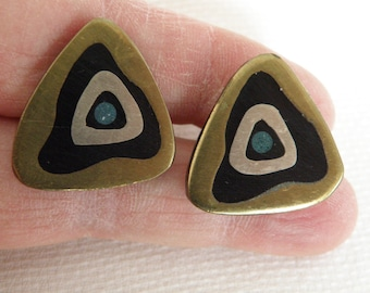 Modernist Inlay Sterling Silver Mixed Metal Cuff Links