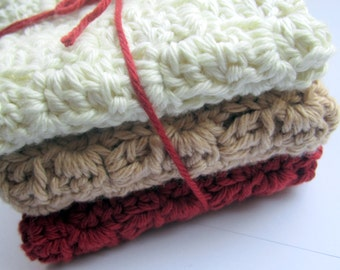 Cotton Wash Cloths, Facial cloths // Set of 3 // Many Colors to choose from.